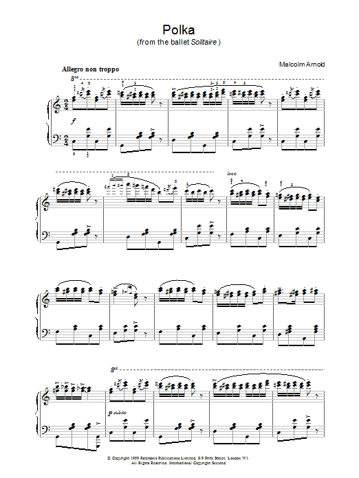 Malcolm Arnold Polka from Solitaire sheet music notes printable PDF score