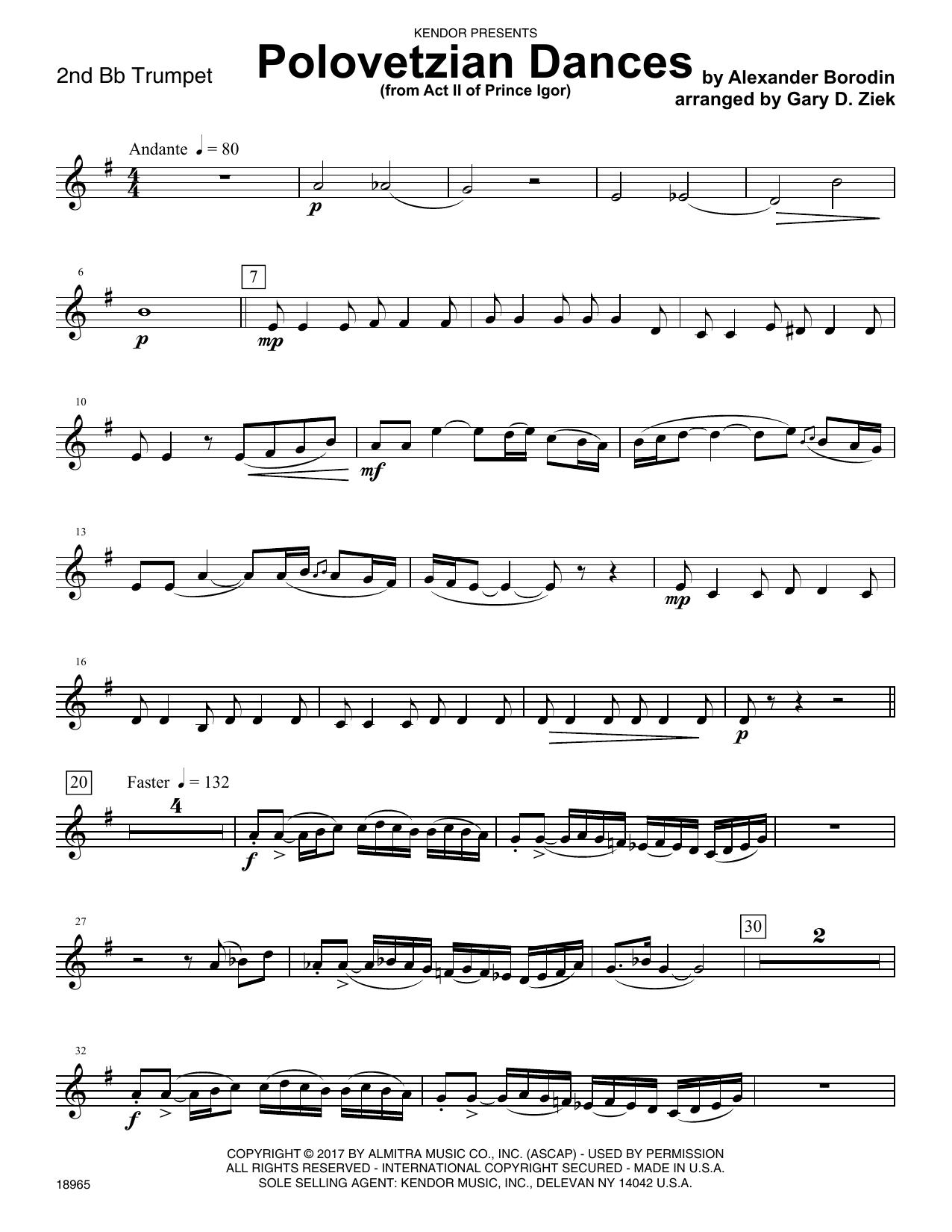 Gary D. Ziek Polovetzian Dances (from Act II of Prince Igor) - 2nd Bb Trumpet sheet music notes printable PDF score