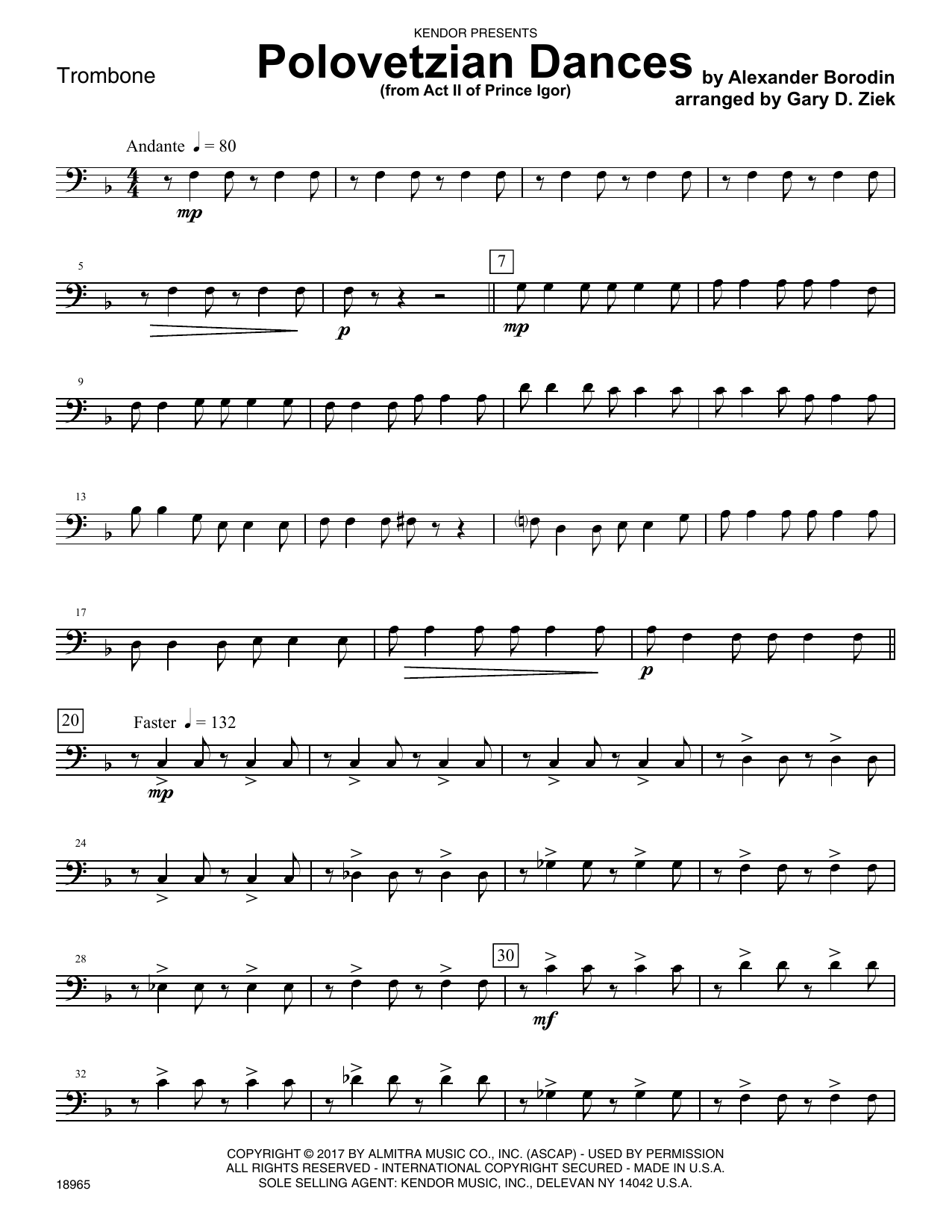 Gary D. Ziek Polovetzian Dances (from Act II of Prince Igor) - Trombone sheet music notes printable PDF score
