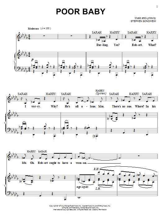 Stephen Sondheim Poor Baby sheet music notes printable PDF score