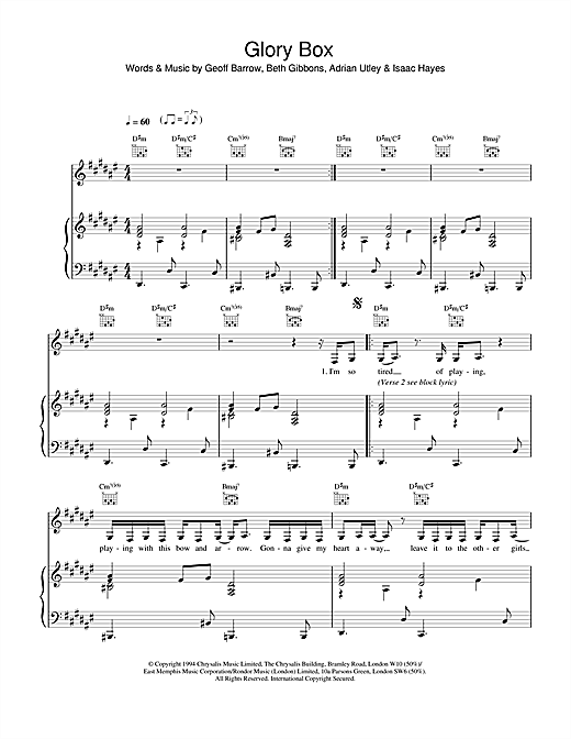 Portishead Glory Box sheet music notes printable PDF score