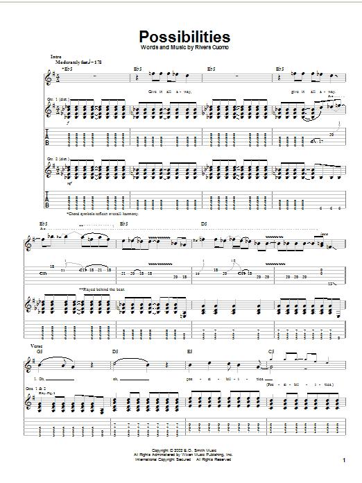 Weezer Possibilities sheet music notes printable PDF score