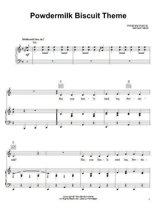 Garrison Keillor Powdermilk Biscuit Theme sheet music notes printable PDF score