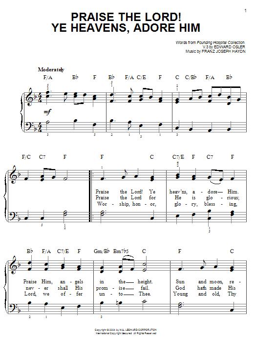 Franz Joseph Haydn Praise The Lord! Ye Heavens, Adore Him sheet music notes printable PDF score