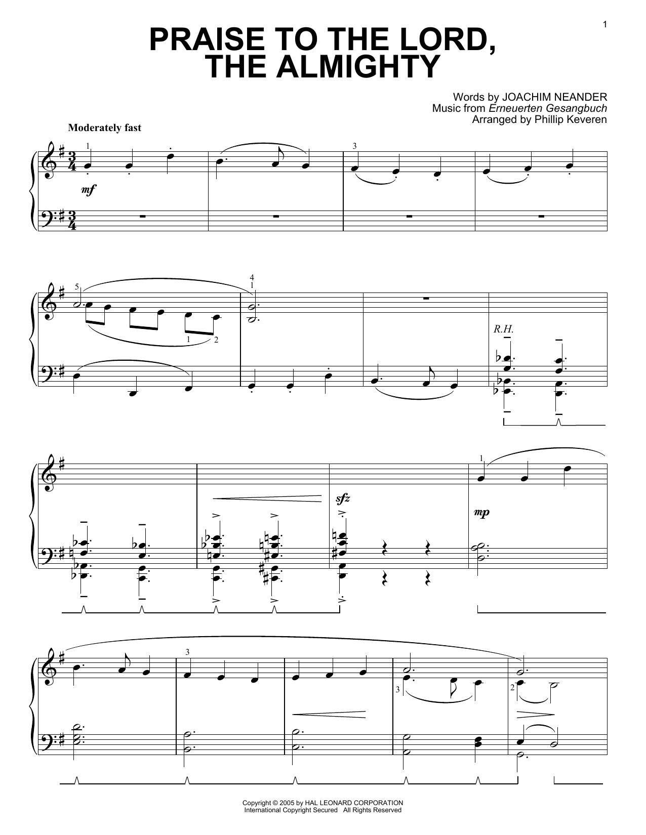 Joachim Neander Praise To The Lord, The Almighty [Jazz version] (arr. Phillip Keveren) sheet music notes printable PDF score