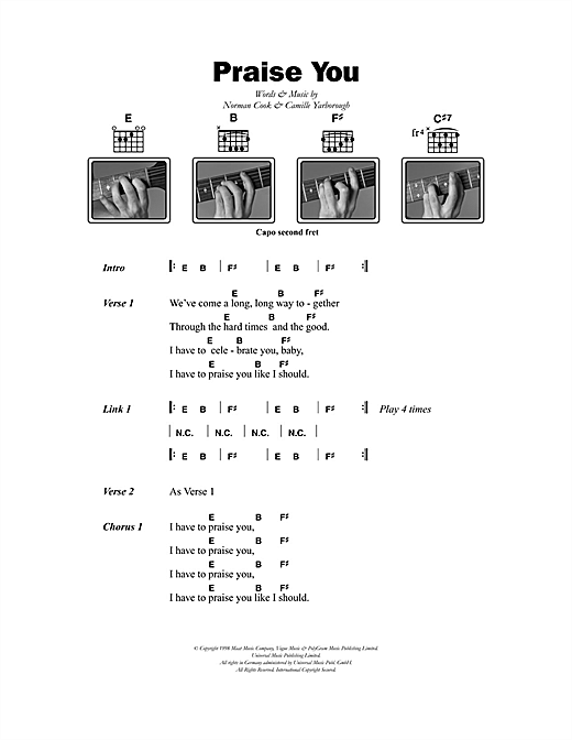 Fatboy Slim Praise You sheet music notes printable PDF score