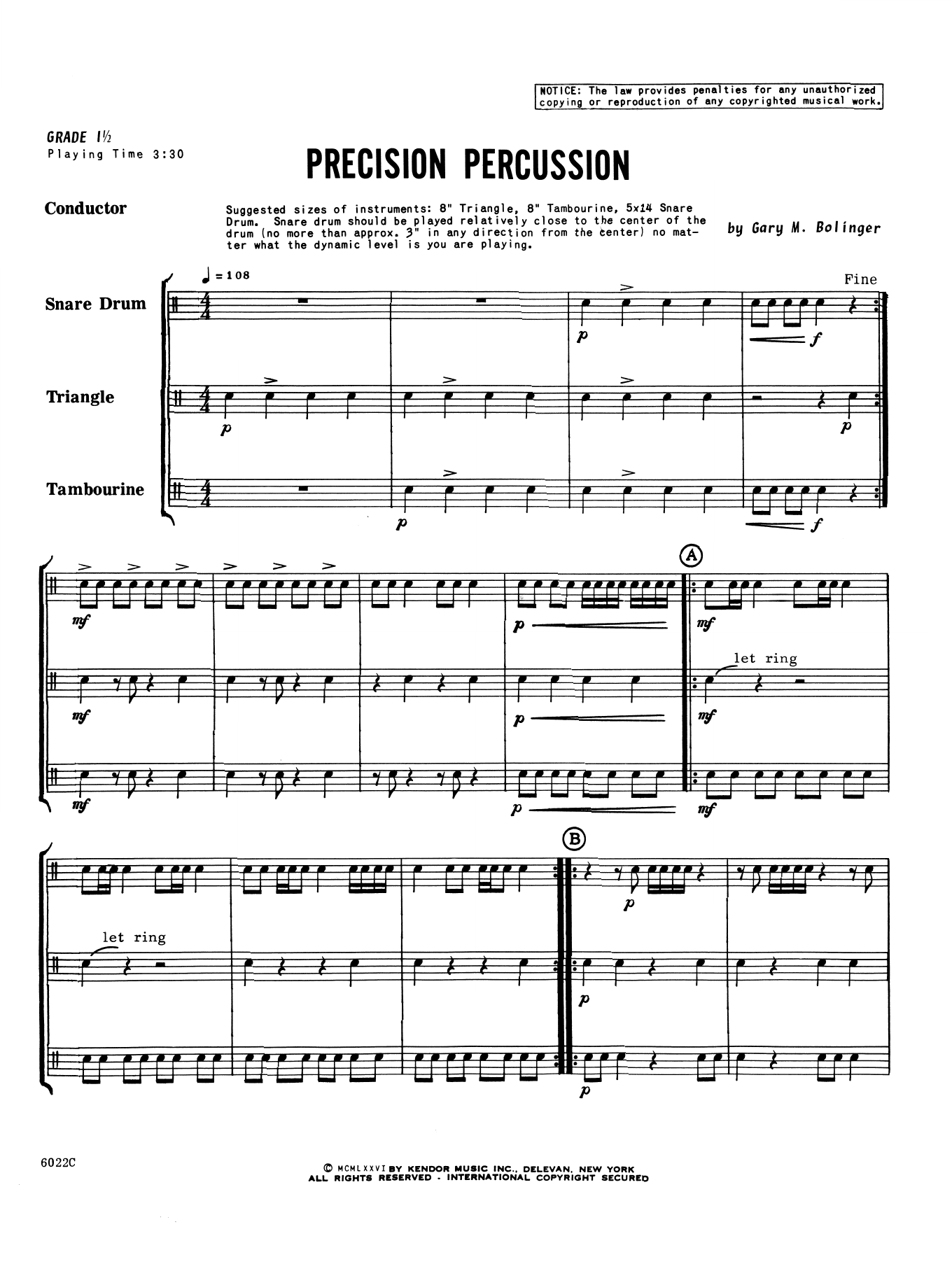 Gary M. Bolinger Precision Percussion - Full Score sheet music notes printable PDF score