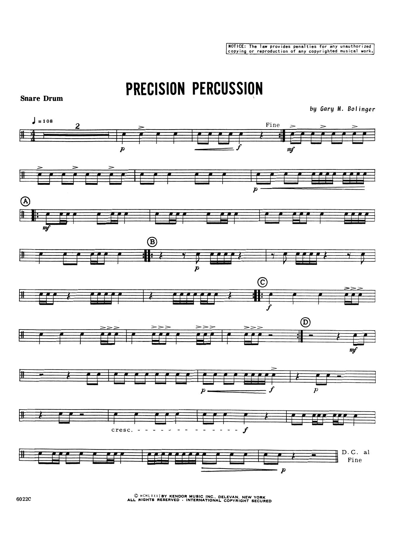 Gary M. Bolinger Precision Percussion - Percussion 1 sheet music notes printable PDF score