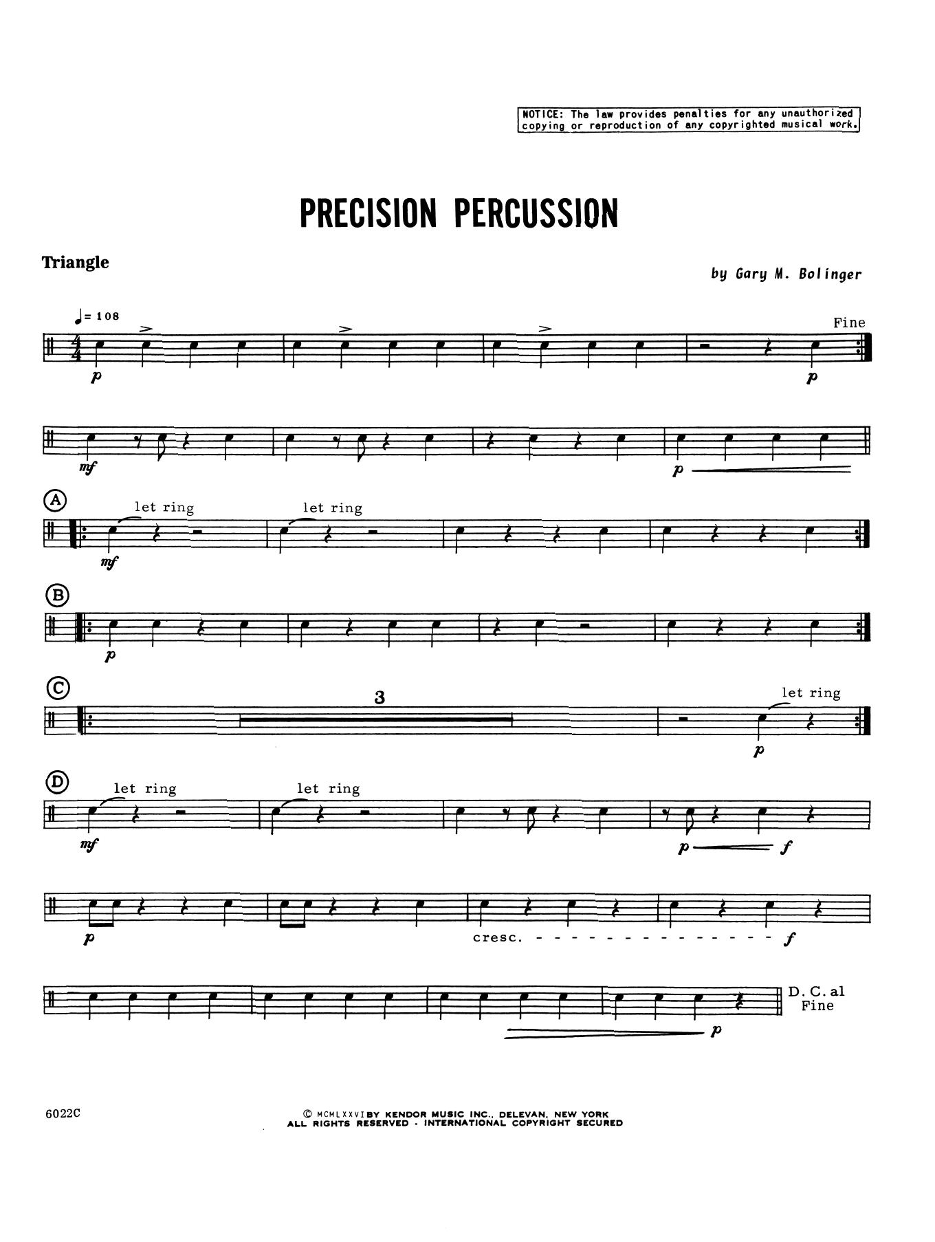 Gary M. Bolinger Precision Percussion - Percussion 2 sheet music notes printable PDF score
