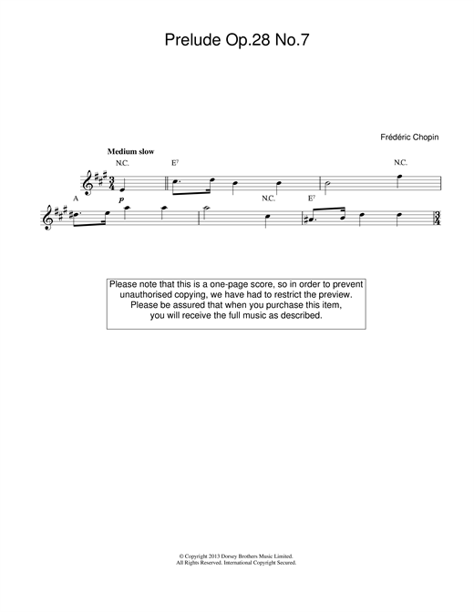 Frederic Chopin Prelude in A Major, Op.28, No.7 sheet music notes printable PDF score