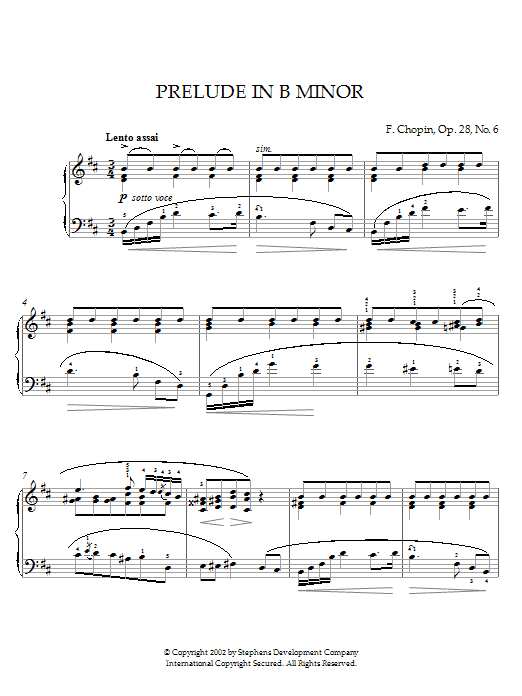 Frederic Chopin Prelude In B Minor, Op. 28, No. 6 sheet music notes printable PDF score