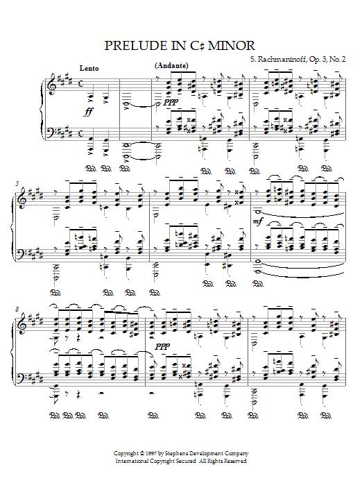 Sergei Rachmaninoff Prelude in C# Minor, Op.3, No.2 sheet music notes printable PDF score
