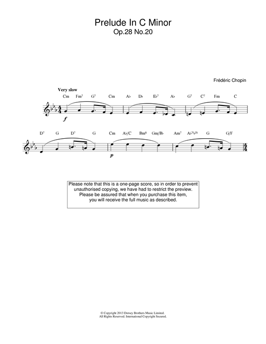 Frederic Chopin Prelude in C Minor, Op.28, No.20 sheet music notes printable PDF score