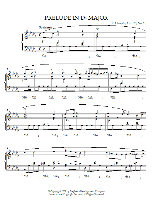 Frederic Chopin Prelude In D Flat Major, Op.28, No.15 (Raindrop) sheet music notes printable PDF score