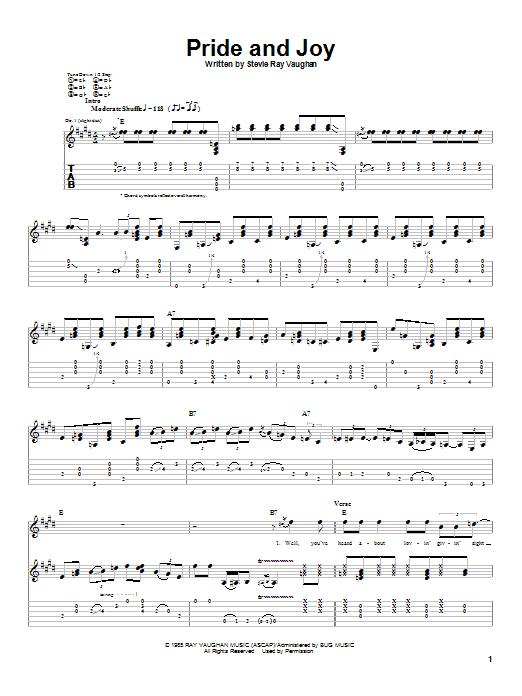 Stevie Ray Vaughan Pride And Joy sheet music notes printable PDF score