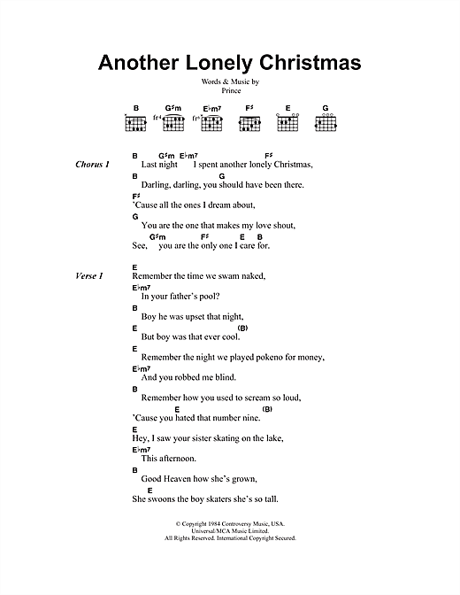 Prince Another Lonely Christmas sheet music notes and chords. Download Printable PDF.