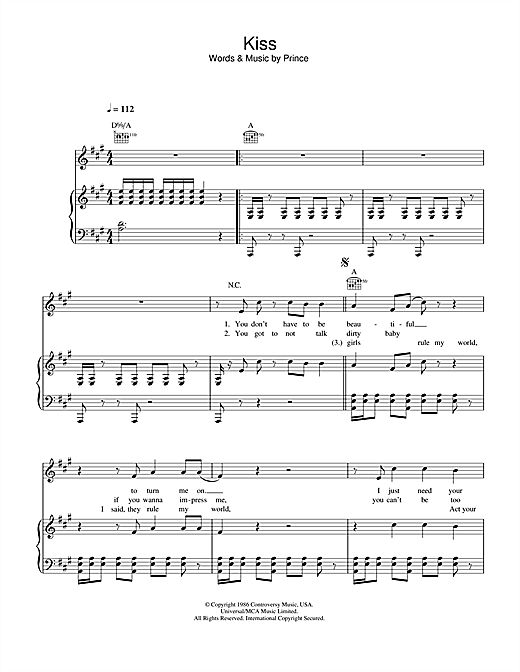 Prince Kiss sheet music notes and chords. Download Printable PDF.