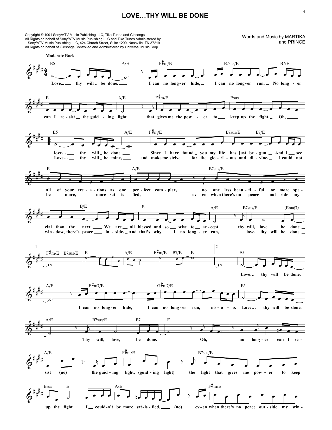 Prince Love...Thy Will Be Done sheet music notes and chords. Download Printable PDF.