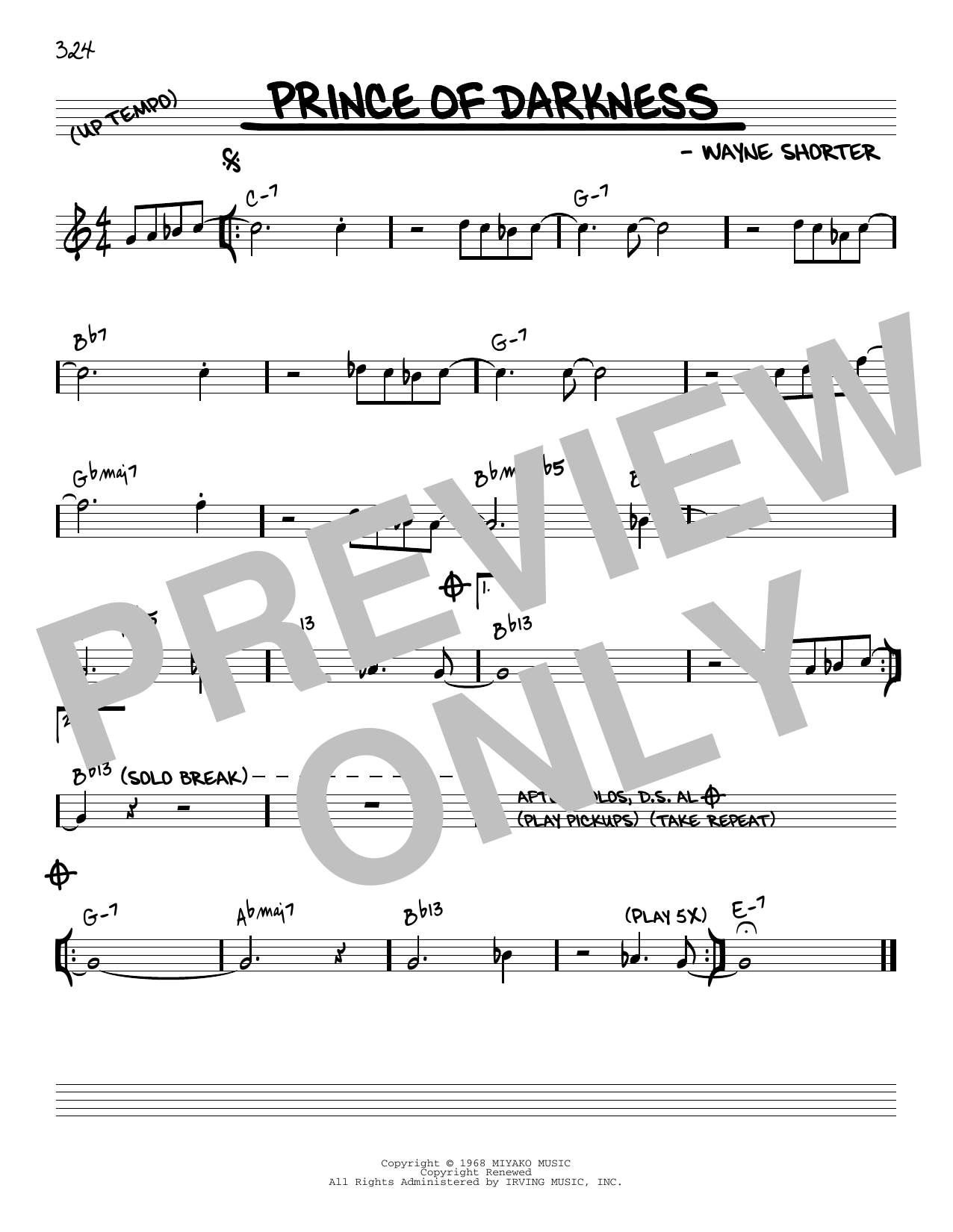 Wayne Shorter Prince Of Darkness [Reharmonized version] (arr. Jack Grassel) sheet music notes printable PDF score