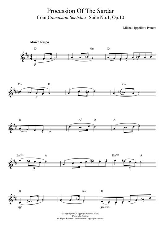 Ivanov Ippolitov Procession Of The Sardar sheet music notes printable PDF score