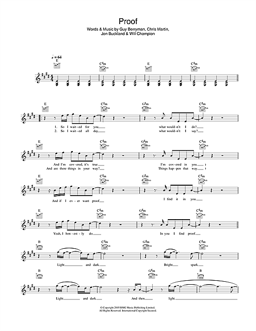 Coldplay Proof sheet music notes printable PDF score