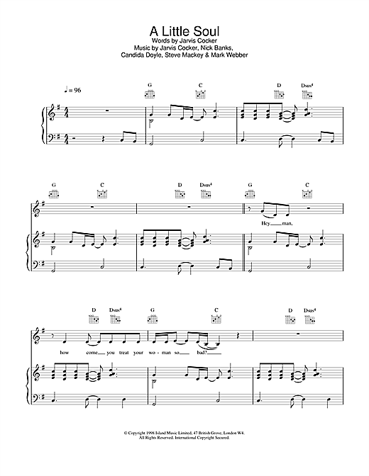 Pulp A Little Soul sheet music notes printable PDF score