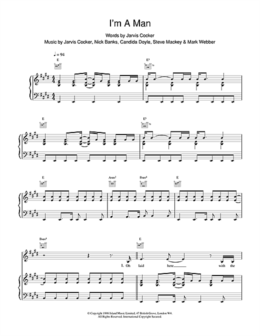 Pulp I'm A Man sheet music notes printable PDF score