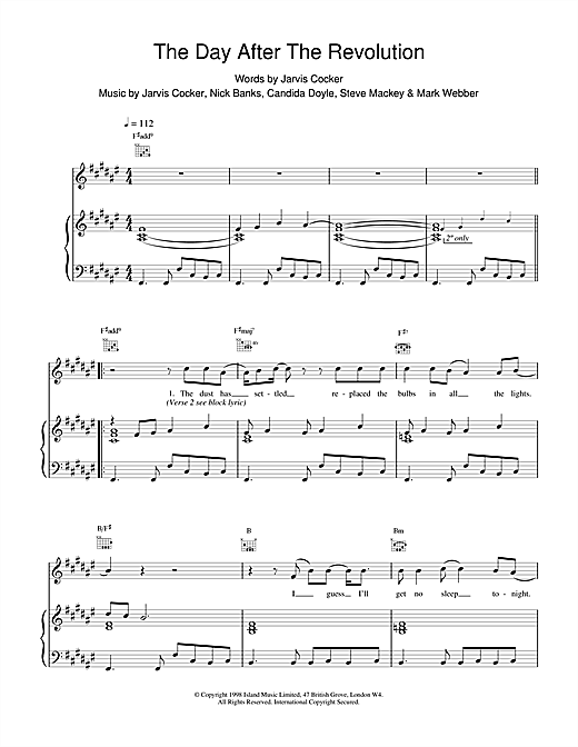 Pulp The Day After The Revolution sheet music notes printable PDF score