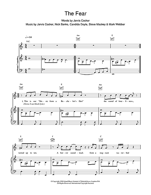 Pulp The Fear sheet music notes printable PDF score