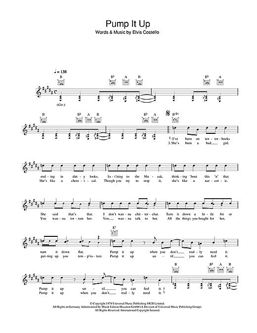Elvis Costello Pump It Up sheet music notes printable PDF score