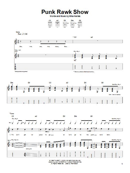 MxPx Punk Rawk Show sheet music notes printable PDF score