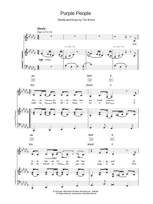 Tori Amos Purple people sheet music notes printable PDF score