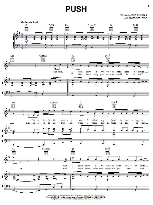 Matchbox Twenty Push sheet music notes printable PDF score