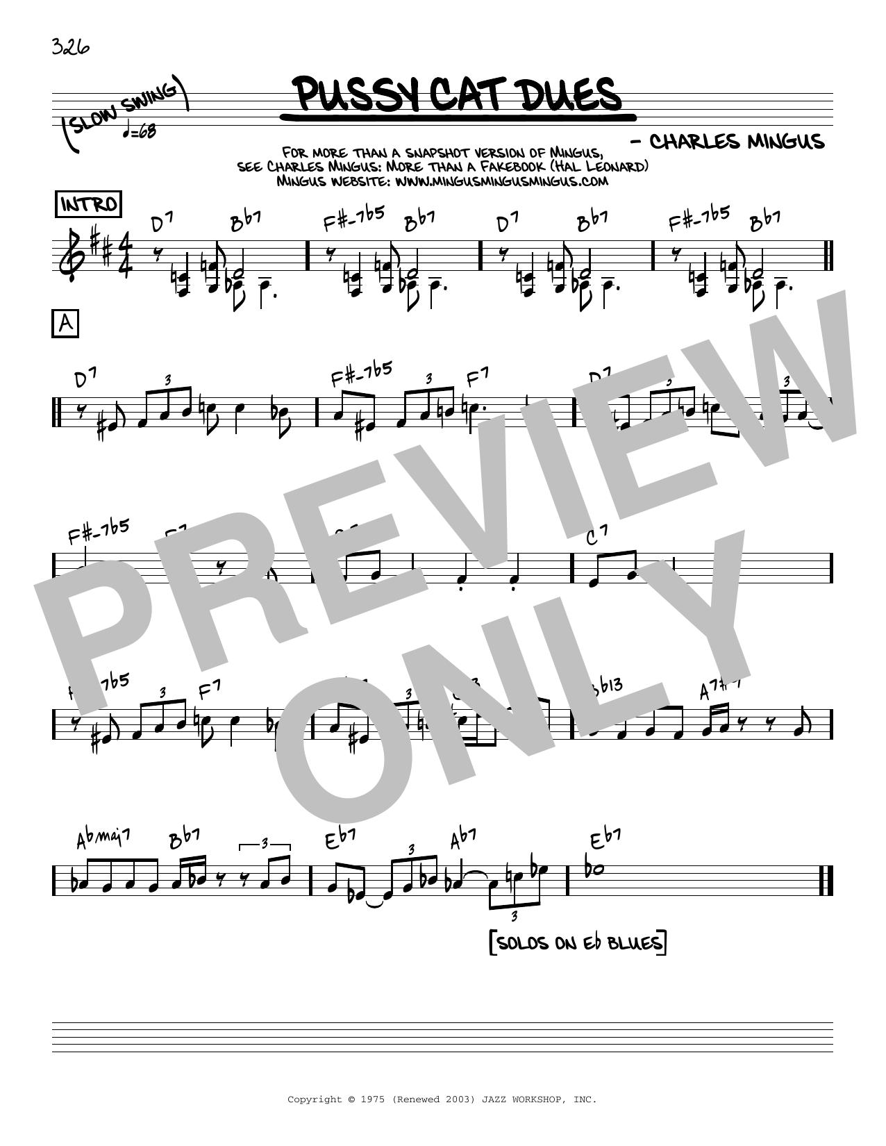 Charles Mingus Pussy Cat Dues [Reharmonized version] (arr. Jack Grassel) sheet music notes printable PDF score