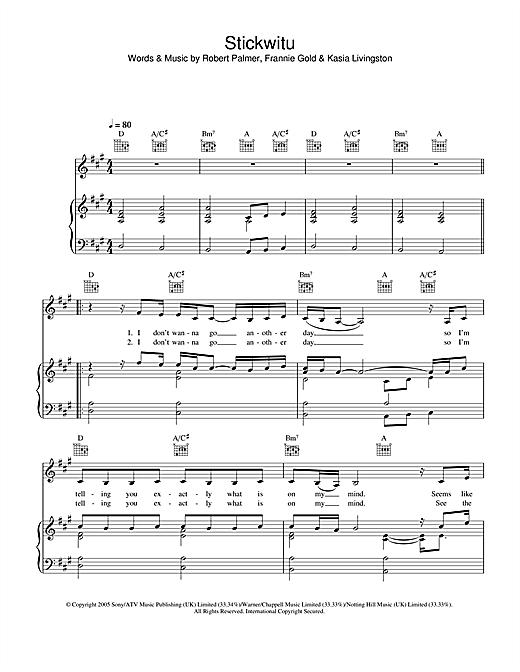 Pussycat Dolls Stickwitu sheet music notes printable PDF score