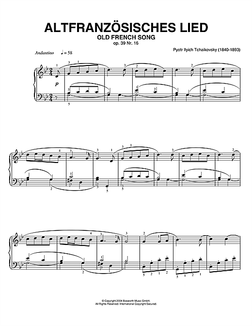 Pyotr Ilyich Tchaikovsky Old French Song, Op. 39, No. 16 (from Album For The Young) sheet music notes printable PDF score