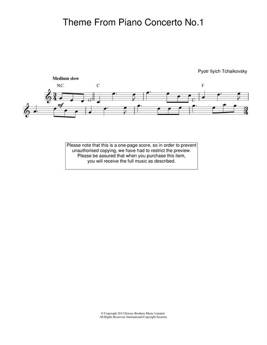 Pyotr Ilyich Tchaikovsky Piano Concerto No.1 in B Flat Minor, Op.23 sheet music notes printable PDF score