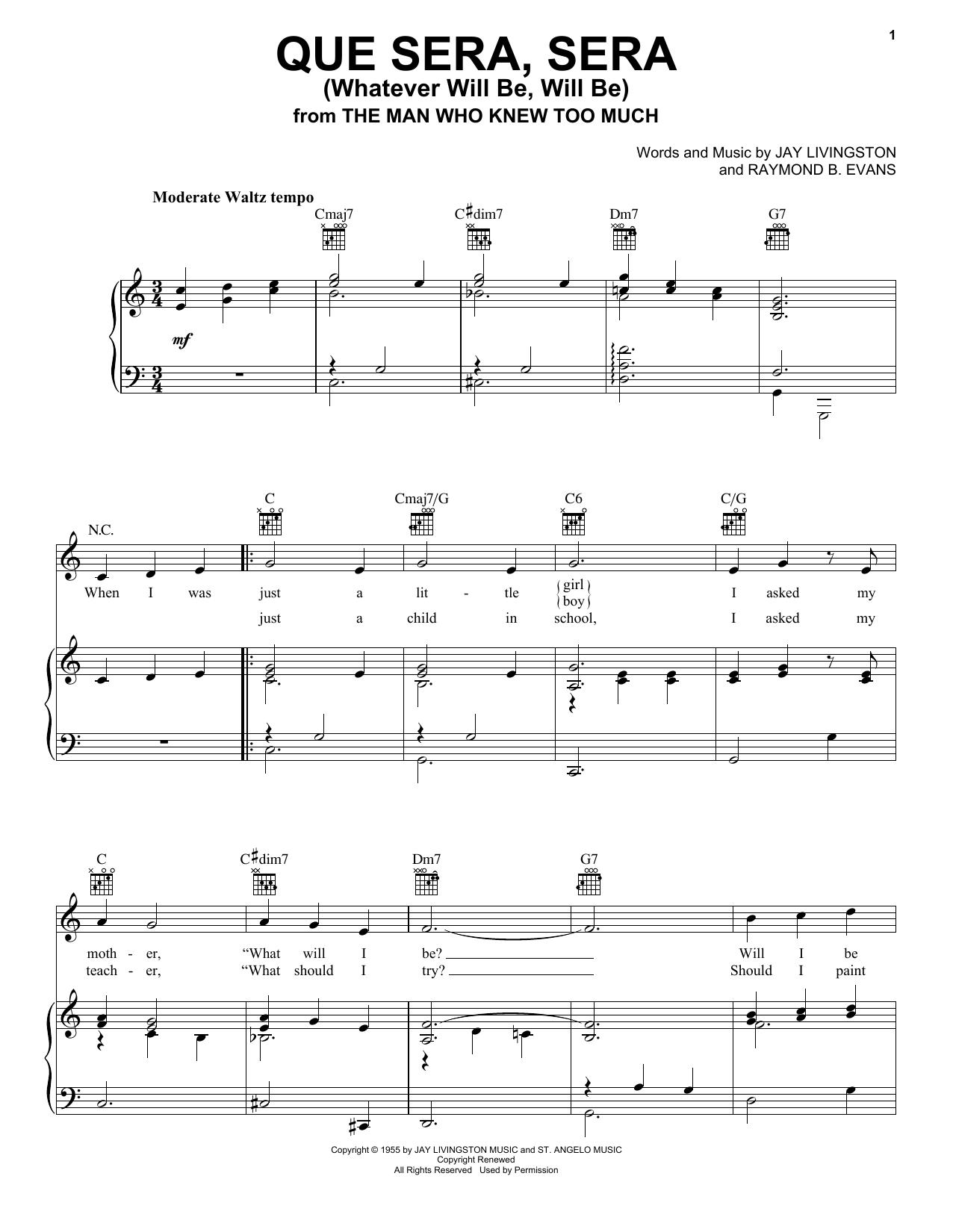 Doris Day Que Sera, Sera (Whatever Will Be, Will Be) sheet music notes printable PDF score