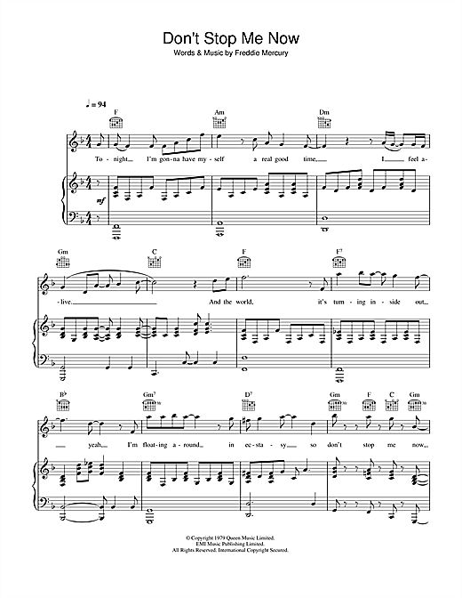 Queen Don't Stop Me Now sheet music notes and chords. Download Printable PDF.