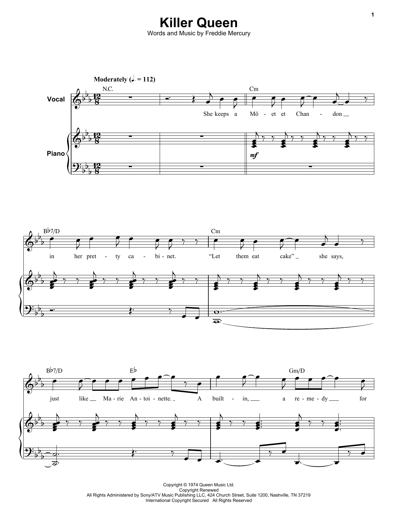 Queen Killer Queen sheet music notes and chords. Download Printable PDF.