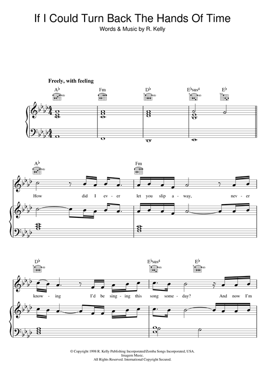 R. Kelly If I Could Turn Back The Hands Of Time sheet music notes printable PDF score