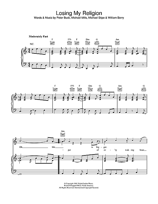 R.E.M. Losing My Religion sheet music notes and chords. Download Printable PDF.