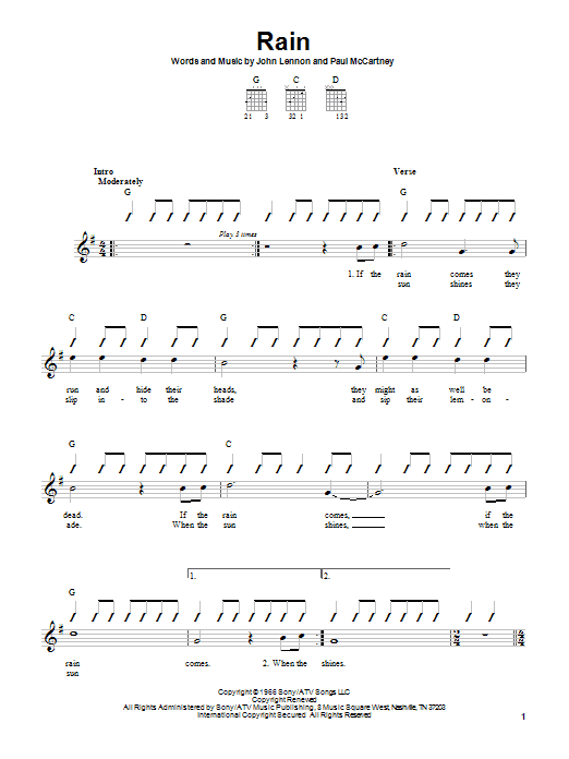 The Beatles Rain sheet music notes printable PDF score