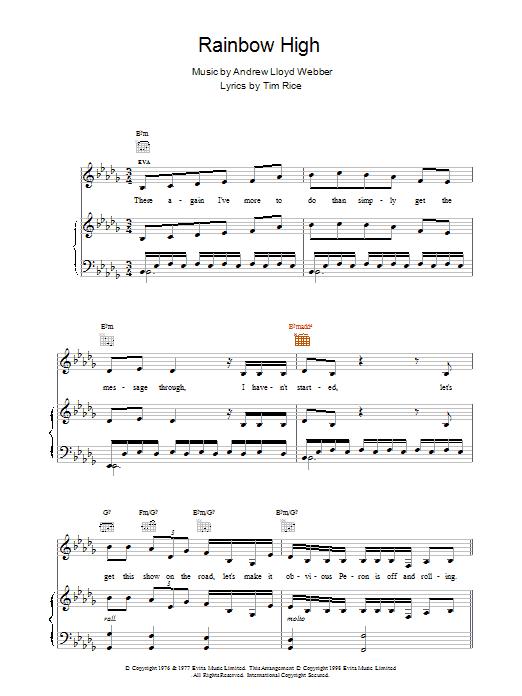 Andrew Lloyd Webber Rainbow High (from Evita) sheet music notes printable PDF score