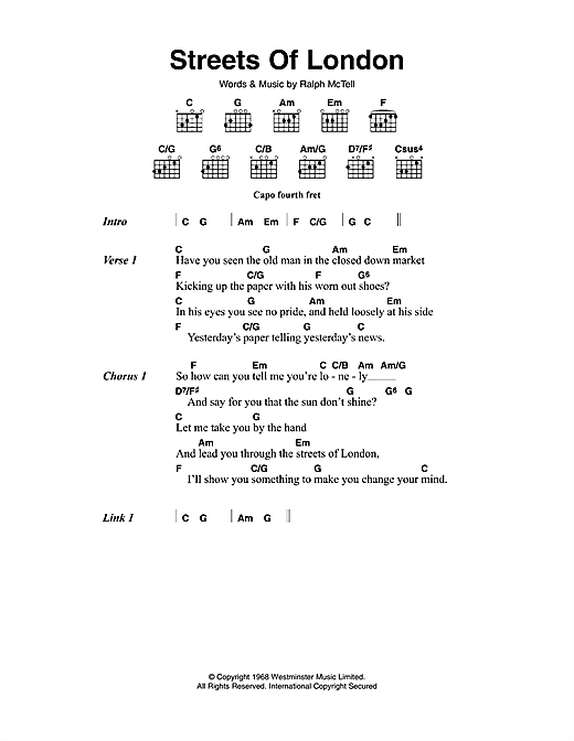 Ralph McTell Streets Of London sheet music notes and chords - download printable PDF.