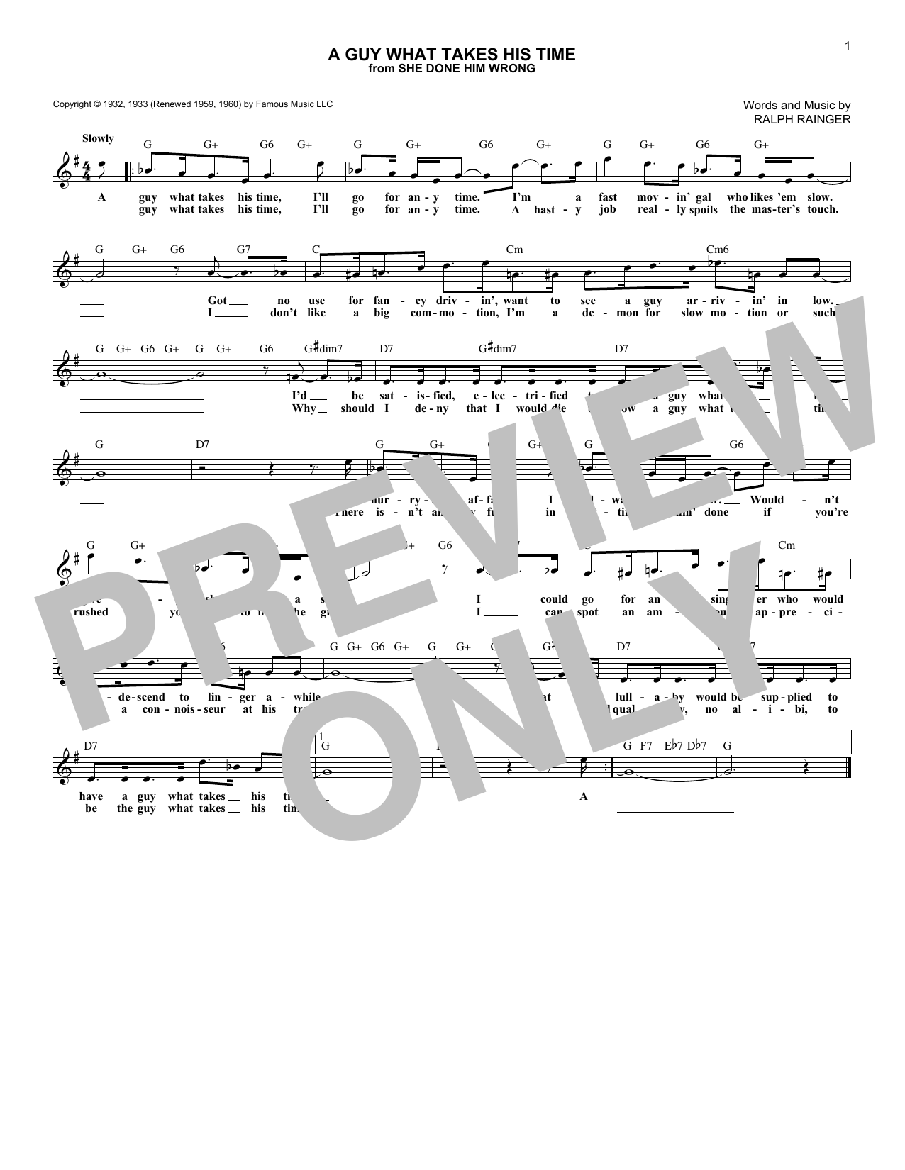 Ralph Rainger A Guy What Takes His Time sheet music notes and chords. Download Printable PDF.