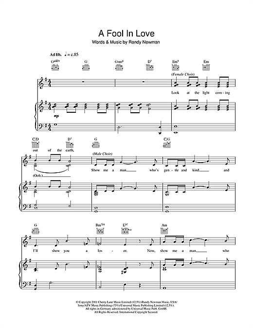 Randy Newman A Fool In Love sheet music notes and chords. Download Printable PDF.