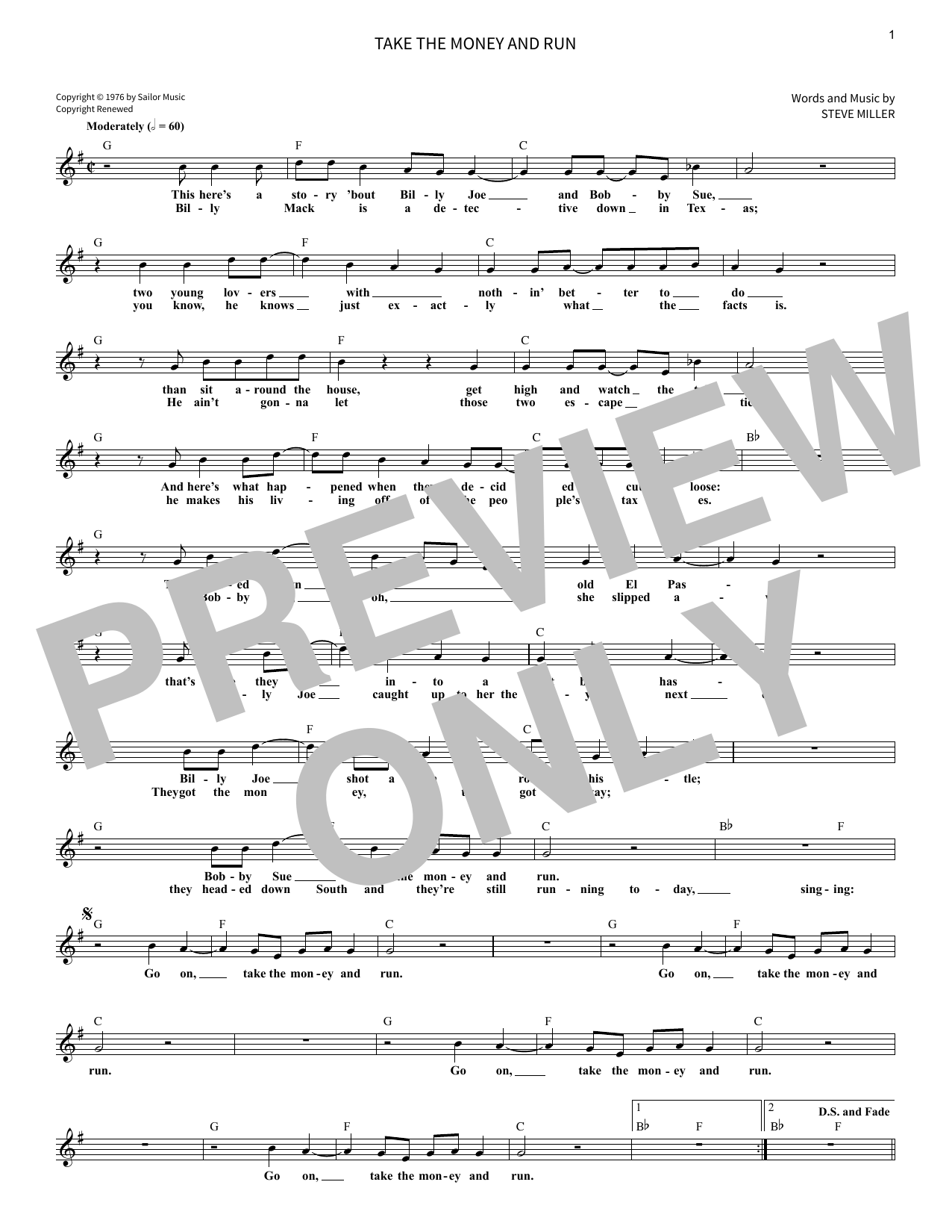 Randy Petersen Take The Money And Run sheet music notes and chords. Download Printable PDF.