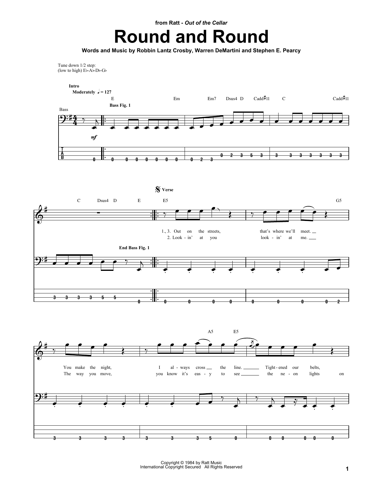 Ratt Round And Round sheet music notes and chords. Download Printable PDF.