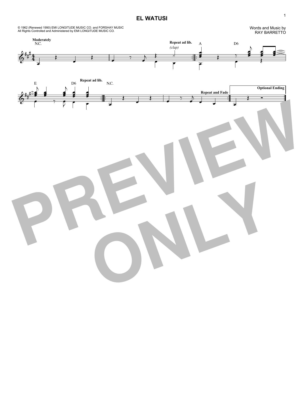 Ray Barretto El Watusi sheet music notes and chords. Download Printable PDF.
